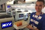 In der neuen A340-Kabine von Joon nach Brasilien