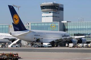 Lufthansa Airbus A380 auf dem Flughafen Frankfurt