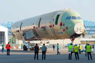 A350 XWB static aircraft fuselage roll out