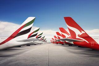 Emirates und Qantas Tails