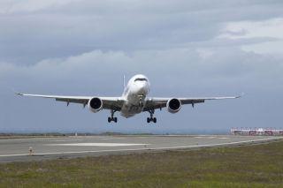 Airbus A350 bei Seitenwindtests auf Island