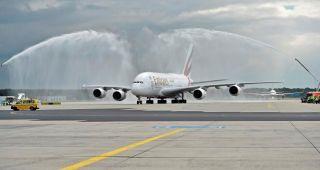 Begrüßung des Emirates-A380 in Frankfurt