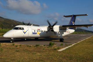 InterSky Dash8-300Q vor dem Start in Elba