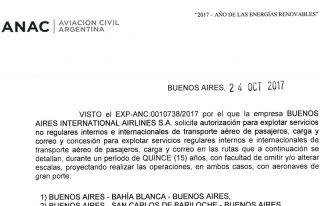 Auszug aus der Begründung der Argentinischen Luftfahrtbehörde zur Anerkennung von 178 Routen für BAIA