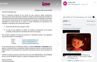 Auf ihrer Facebook-Seite informiert LAW über die Betriebseinstellung