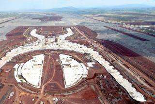 Die Baustelle des Neuen Internationalen Flughafens Mexiko(NAIM)