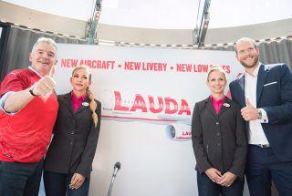 Michael O'Leary und Laudamotion-Geschäftsführer Andreas Gruber in Wien