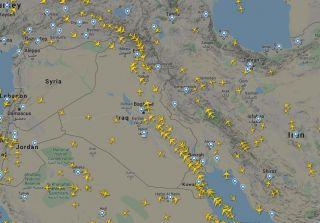 Screenshot Flightradar24.com vom 22. Januar 2020