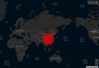 Verbreitung des Coronavirus - Ausschnitt der Karte vom 31. Januar 2020