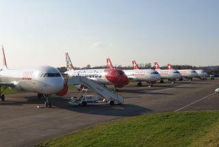 Teile der geparkten Swiss-Flotte