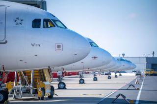 Geparkte A320 von Austrian Airlines