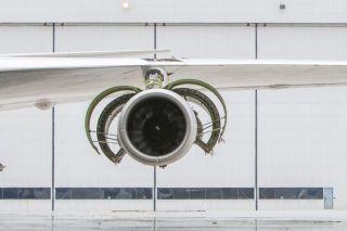 Das PW1900G bei Testläufen an der Boeing 747SP von Pratt & Whitney.