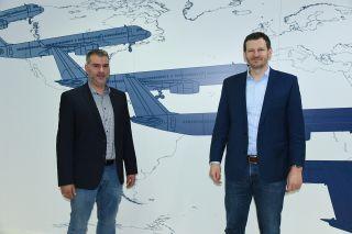 Vorsitzender der Personalvertretung Cockpit der LH Cargo Sebastian Baumgart und Vorsitzender Tarifpolitik der VC Marcel Gröls