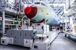Die vierte A320-Endmontage-Linie in Hamburg Finkenwerder arbeitet mit einem hohen Grad an Automatisierung