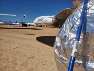 Qantas Airbus A380 in der Mojave-Wüste
