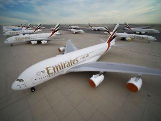 Geparkte Emirates Airbus A380