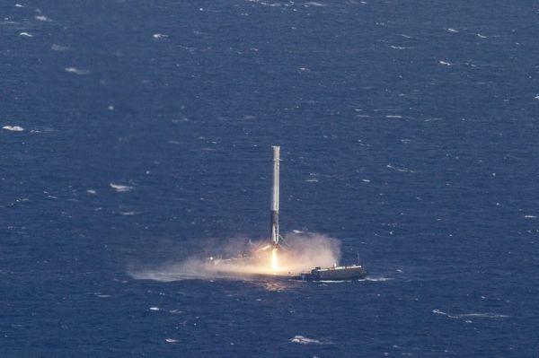 SpaceX gelingt Raktenlandung auf schwimmender Plattform