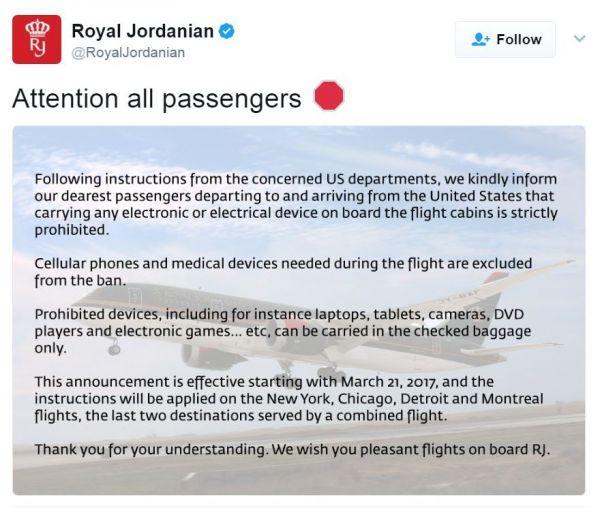 Royal Jordanian verbietet elektronische Geräte an Bord