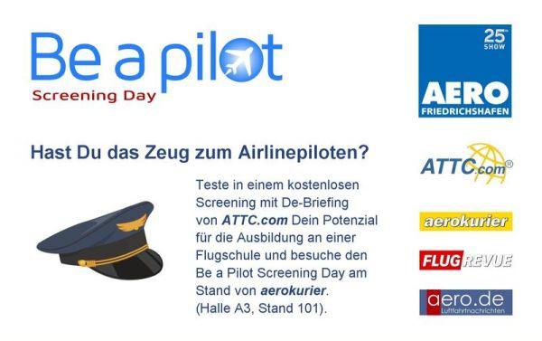 Be a pilot Screening Day auf der AERO Friedrichshafen