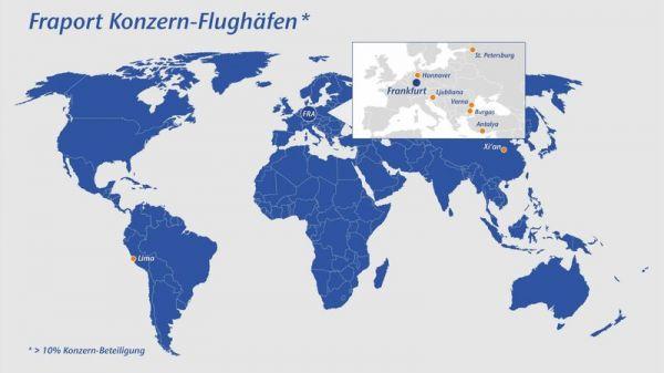 Aktuelle Fraport-Konzernflughäfen