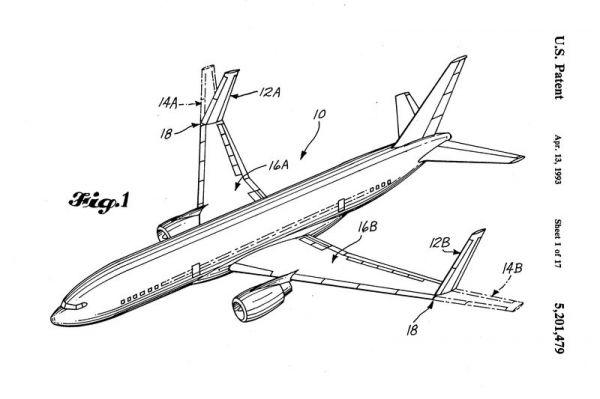 1993: Boeing meldet ein Patent für Klappflügel an der 777 an