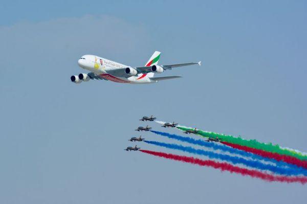 Emirates Airbus A380 auf der Dubai Airshow 2017