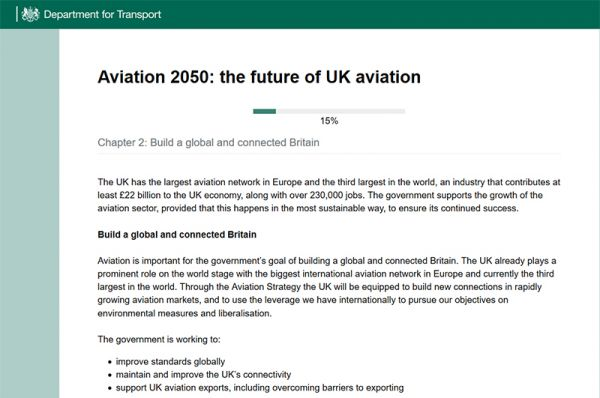 Screenshot der Umfrage Aviation 2050: the future of UK aviation