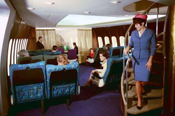 Das Interieur einer der ersten Boeing 747