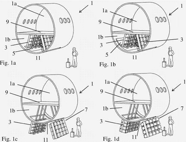 Illustration der Airbus Operations-Patentanmeldung für ein neues Gepäcksystem 1