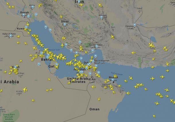 Flugverkehr in der Golfregion am Morgen des 21.06.2019