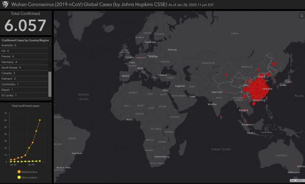 Verbreitung des Coroanvirus - Screenshot CSSE vom 29. Januar 2020