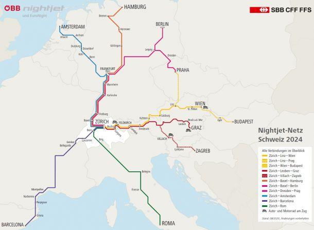 Geplante Nightjet-Linien von ÖBB und SBB
