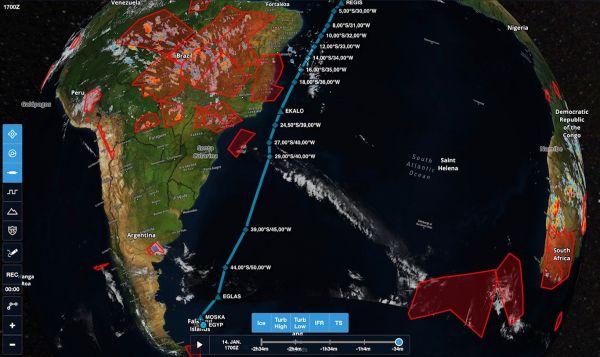 Die geplante Rote für den Nonstop-Flug zu den Falkland-Inseln