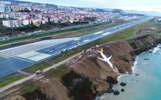 Türkei: Flugzeug stürzt bei Landung fast ins Meer